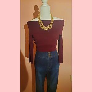 NewYork&Co off the shoulder sweater bodysuit L